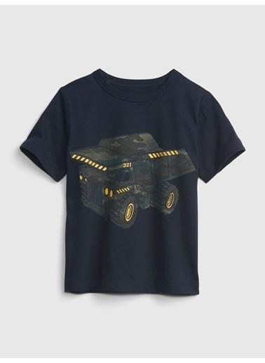 Gap Organik Pamuklu Grafik T-Shirt Lacivert